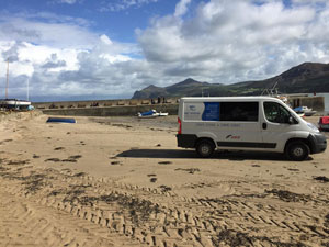 A&T Marine Engineering van on Anglesey beach