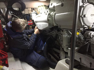 Boat engine being repaired